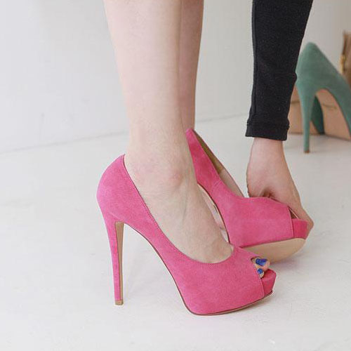 Fashion Peep Toe Platform Stiletto High Heels Rose Leather Suede Pumps