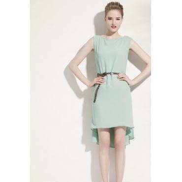 Fashion O neck Tank Sleeveless Asymmetrical Knee Length Green Chiffon Dresses