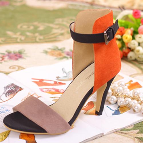 European Fashion Stiletto High Heel Brown Suede Ankle Strap Sandals