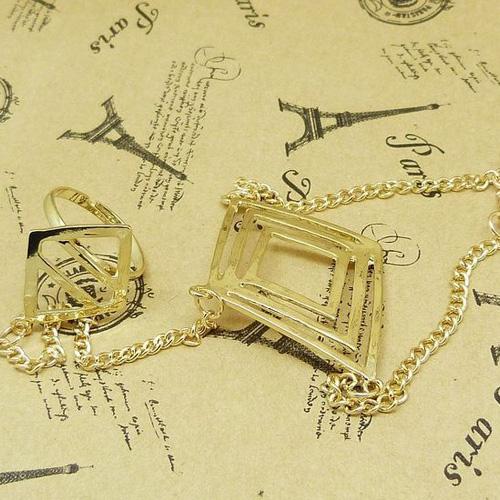 European Styles Bronzed-color Multi-layers Diamond Shaped Metal Bracelet