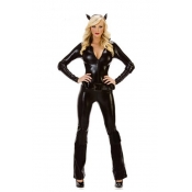 Hot Sales Sexy Faux Leather Cat Coverall Costumes