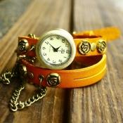 Gorgeous Orange Rose Chain Embellished Leather Bra