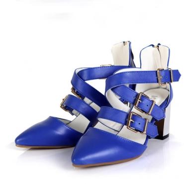 Fashion Buckle Strap Chunky High Heel Blue PU Cross Strap Sandals