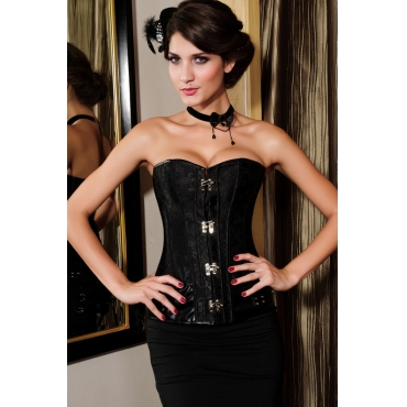 elegant black polyester brocade steampunk corset with