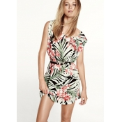 Fashion Flowers Print O Neck Sleeveless Green Chif