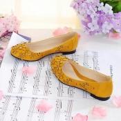 Fashion Round Closed Toe Flowers Embellished Yello