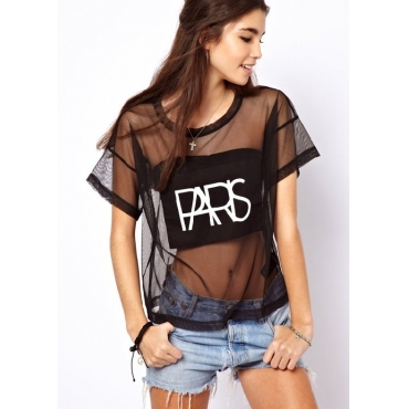 Sexy O Neck Letters Print Short Sleeves Transparent Black Rayon T-shirt