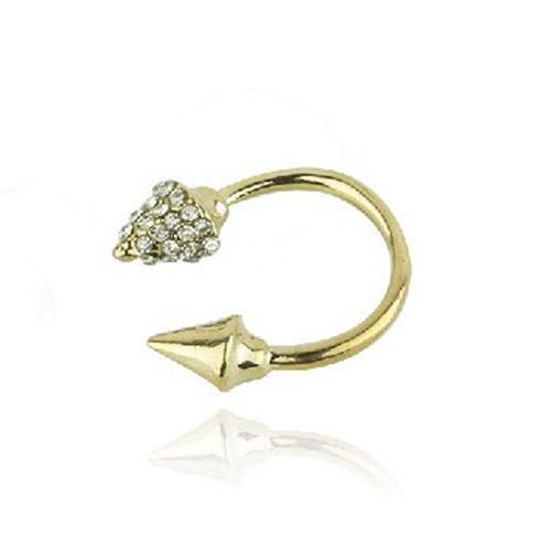 Fashion Punk Styles Golden Diamond Embellished Rivet Shaped Metal Ring