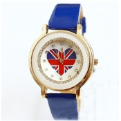 Fashion UK Flag Heart Shaped Print Blue Leather Wr