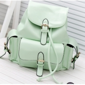 Fashion Girls Solid Green Leather Backpack String