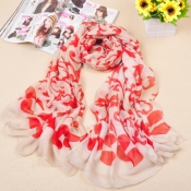 Fashion Hot Sales Flowers Print Red Volie Scarves