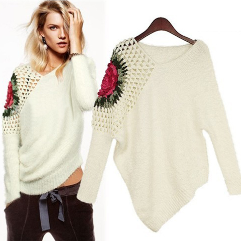 Cheap Womens Sweaters New Style Retro Hollow V Neck Long Sleeve ...