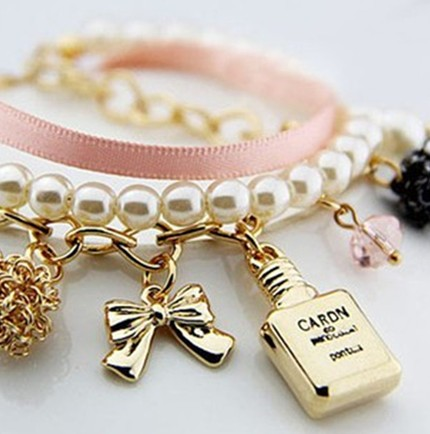 Fashion Retro Bow Perfume Bottle Embellished Pearl Bracelet