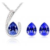 Fashion Blue Water-drop Shaped Crystal Wedding Jew