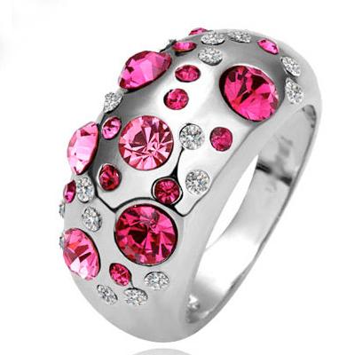 Fashion Rose Red Diamond Embellished Silver Ring