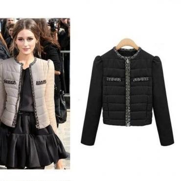 New Style Zipper Black Cotton Short Parkas