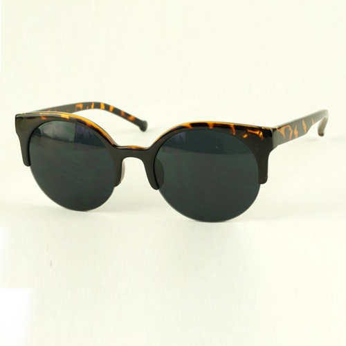Fashion Vintage Leopard Half Frame Sunglasses