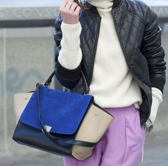 Women Suede Fashion Patchwork Zipper Cluthes Bag