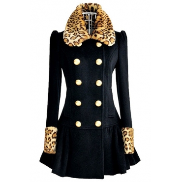 Turndown Collar Long Sleeve Double Breasted Dark Blue Wool Coat