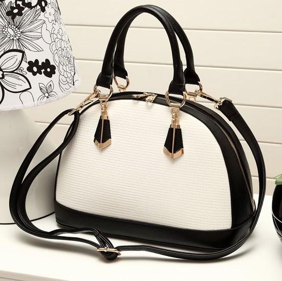 Fashion Patchwork Zipper White PU Clutches Bag