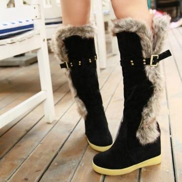 Зима Круглый Toe Плоский низкий каблук скольжения на колено высокие перья черный замши ботинки снега