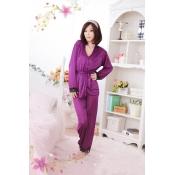 Woman Purple Polyester pajamas