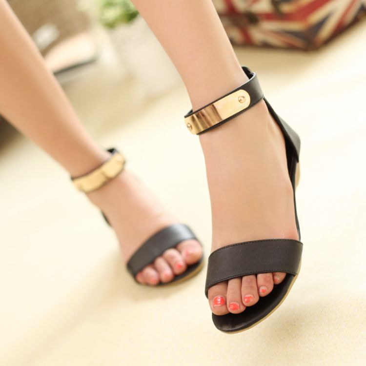 Fashion Flat Low Heel Ankle Strap Black Pu Sandals Sandals