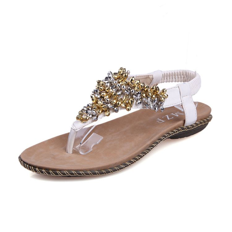Fashion Flat Low Heel Flip Flops White PU Sandals