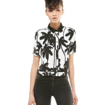 New Style Woman Turndown Collar Long Sleeve Print Cotton Blouse