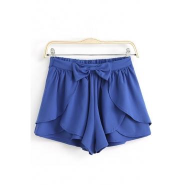 New Style Solid Elastic Waist Mid Regular Bowknot Navy Blue Chiffon Shorts