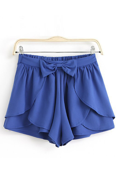 New Style Solid Elastic Waist Mid Regular Bowknot Navy Blue Chiffon Shorts