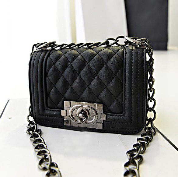 Fashion Women Solid Hasp Black PU Shoulder Bag