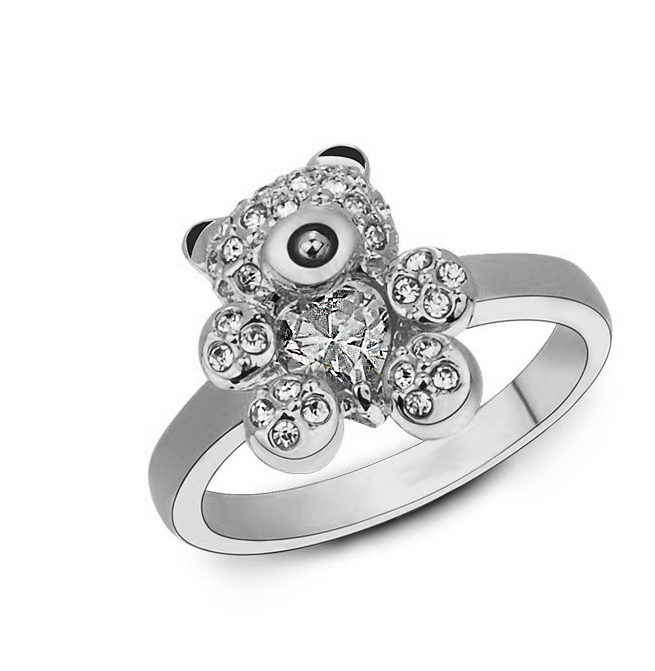 Fashion Crystal Bear Silver Metal Ring