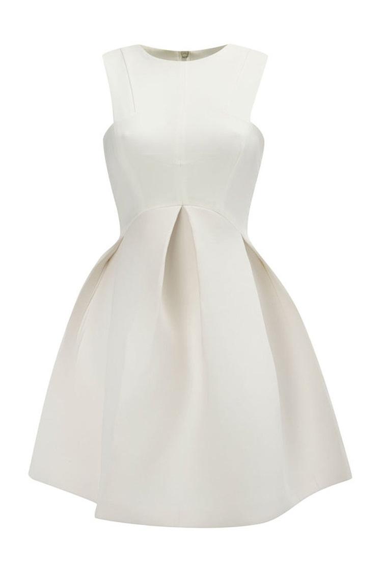 Fashion O Neck Tank Sleeveless A Line White Cotton Mini Dress