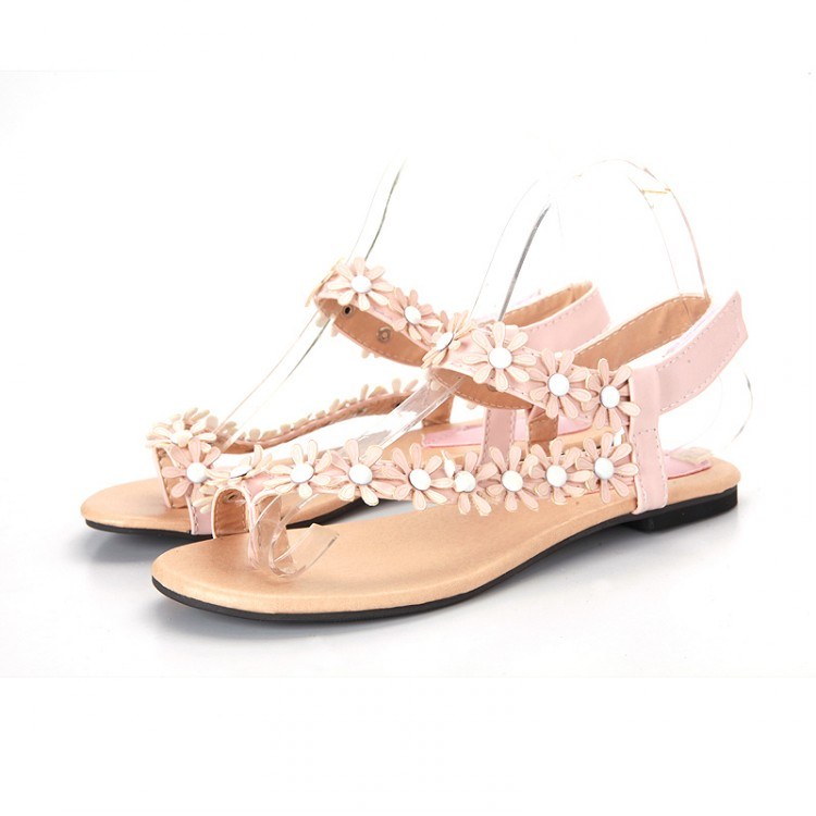 Fashion Flat Low Heel T Strap Pink Pu Sandals Sandals
