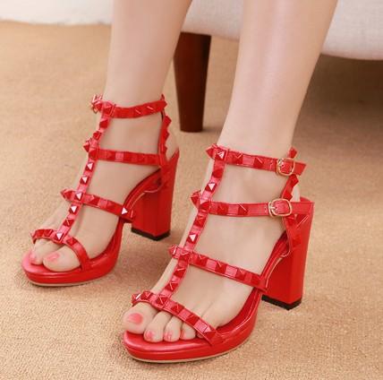 Fashion Chunky High Heel Gladiator Red PU Sandals