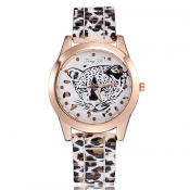 New Style Round Gold Frame Light Leopard PU Watch