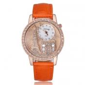 New Style Woman Quinta Rhinestones OrangePU Watch