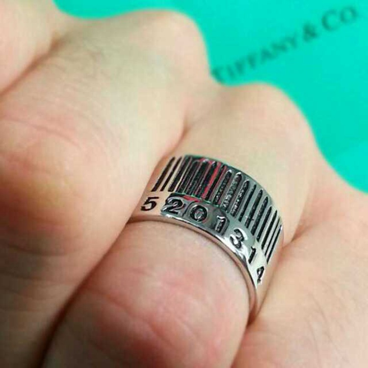 Fashion Arabic Numerals Plated Silver Metal Ring