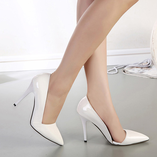 Fashion Pointed Closed Toe Stiletto Super High Heels Solid White ...