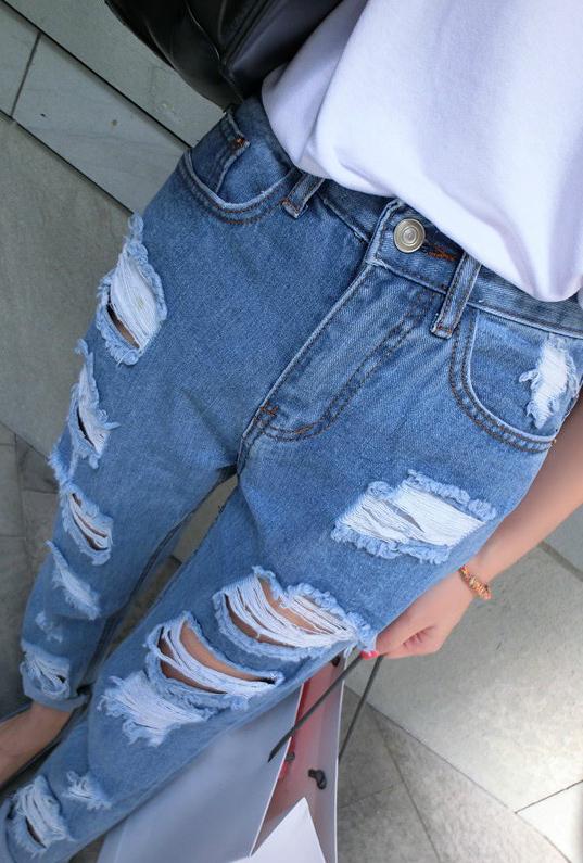 Casual Broken Holes Button Fly Designed Blue Cotton Blend Regular Pants