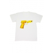 Free Style O Neck Short Sleeves Gun Print White T-