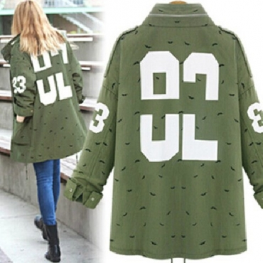 Cheap New Style Long Sleeves Numerals Print Zipper Design Army Green Long Trench Coat