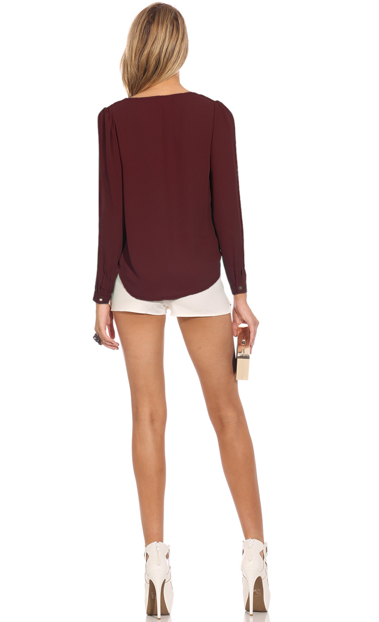 Cheap Fashion V Neck Long Sleeves Front Zipper Design Solid Wine Red Chiffon Shirt