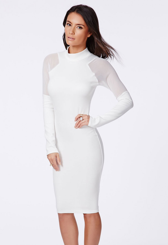 Long Sleeve White Knee Length Dress
