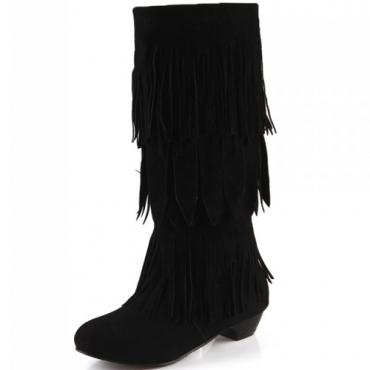 Cheap Winter Suede Round Toe Tassels Decorated Wedge Mid Heel Slip On Knee High Heel Black Cavalier Boots