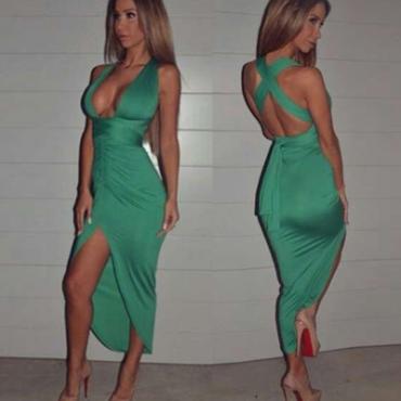 Cheap Sexy V Neck Tank Sleeveless Crossed Backless V-shape Split Asymmetrical Green Polyester Ankle Length Dress
