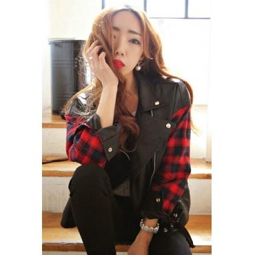 Cheap New Style O Neck Long Sleeves Zipper Design PU Patchwork Plaids Print Black Regular Jacket