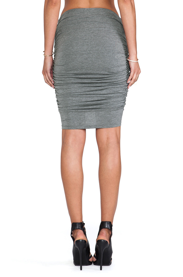 Cheap Fashion High Waist Drapes Design Solid Grey A Line Mini Bodycon Skirt