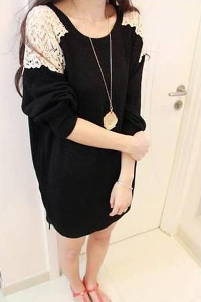 Cheap New Style O Neck Lace Patchwork Black Regular Pullover Sweater